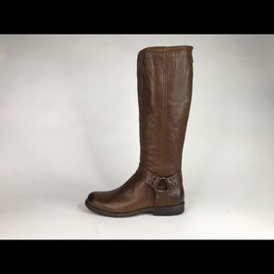 """FRYE PHILLIP HARNESS TALL 15.5"""" LEATHER BOOTS"""